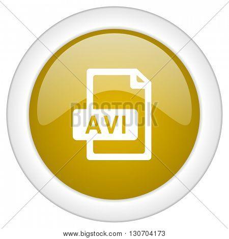 avi file icon, golden round glossy button, web and mobile app design illustration