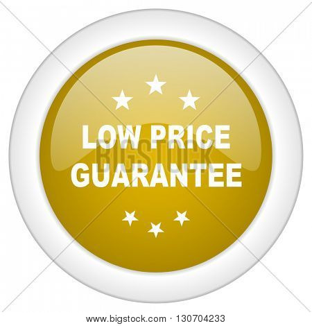 low price guarantee icon, golden round glossy button, web and mobile app design illustration