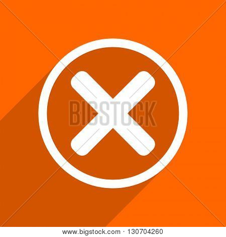 cancel icon. Orange flat button. Web and mobile app design illustration