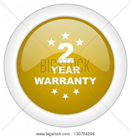 warranty guarantee 2 year icon, golden round glossy button, web and mobile app design illustration