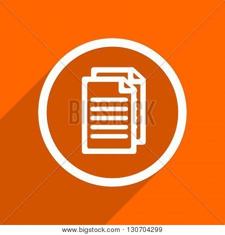 document icon. Orange flat button. Web and mobile app design illustration