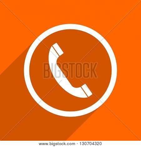 phone icon. Orange flat button. Web and mobile app design illustration