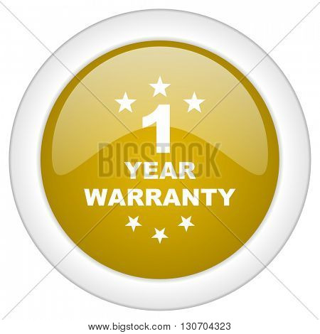 warranty guarantee 1 year icon, golden round glossy button, web and mobile app design illustration