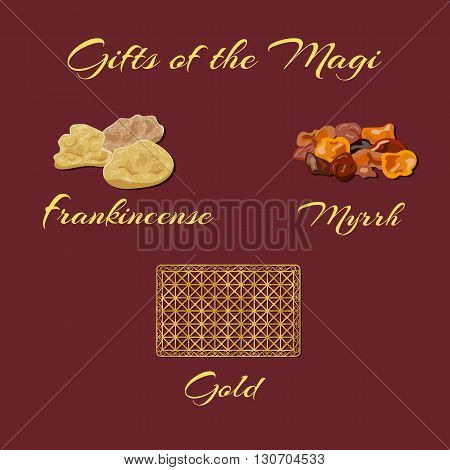 Gold frankincense and myrrh - Gifts of the Magi. Vector illustration.