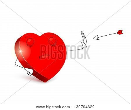 Cartoon heart with categorical facial expression by using prohibitive gesture is stopping arrow flying at it