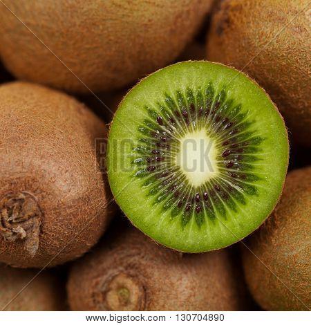 Whole Kiwi or Kiwifruit. Macro. Selective focus.