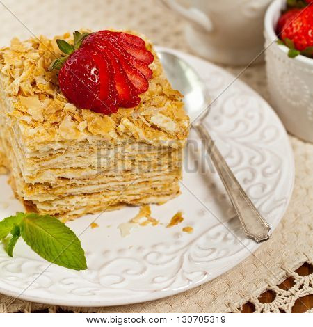 Puff Pastry Layers Napoleon Cake. Selective focus.