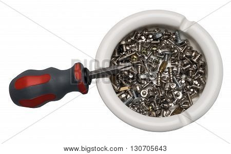 Use of an ashtray in the peace purposes. Screwdriver nuts screws. the screws in paralyze.
