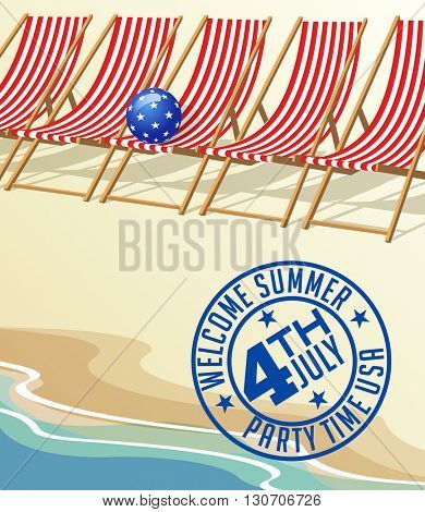 4th of July summer vacation beach and vintage beach chairs design