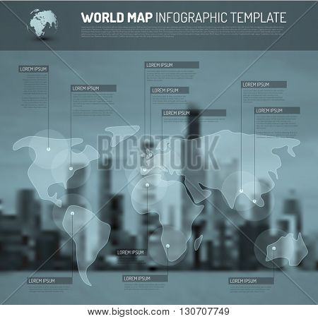 Light World map with pointer marks (flags) - communication concept, with city blurred background - blue version