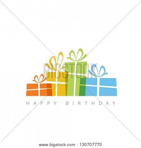 Happy birthday fresh vector illustration with presents