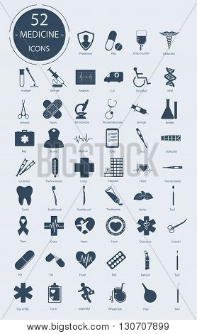 Medical icons. Number of icons - 52. Vector elements