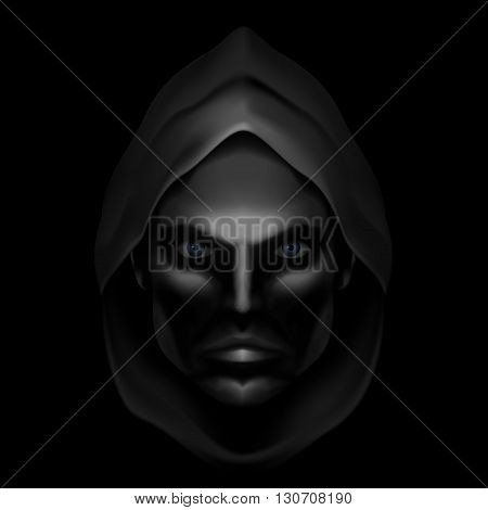 Serious Male Face Logo Template. Monk Shadowed Face under the Hood