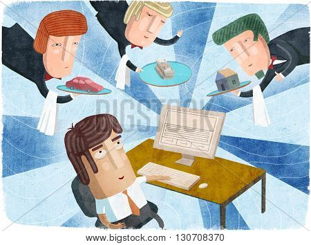 Man sits in front of computer and doing online shopping at home. Internet shopping. Men holding a tray with the goods. Creative illustration.