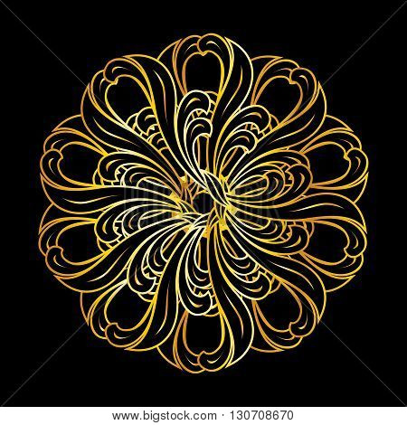 Pattern in floral style and gold colors over black