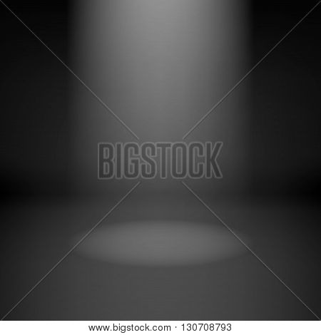 Illustration of empty dark room with spotlight