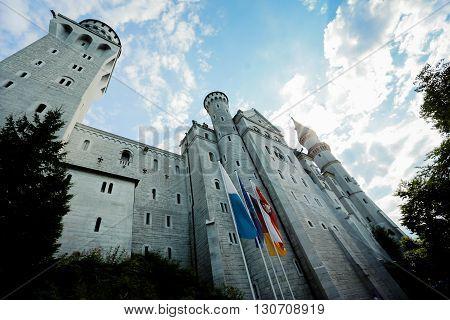 Castle, summer, sun, evening, flags, monumental, great, grand, Neuschwanstein