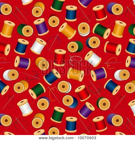 Seamless Needles & Threads Background, Red