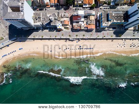 Top View of Porto da Barra Beach, Bahia, Brazil