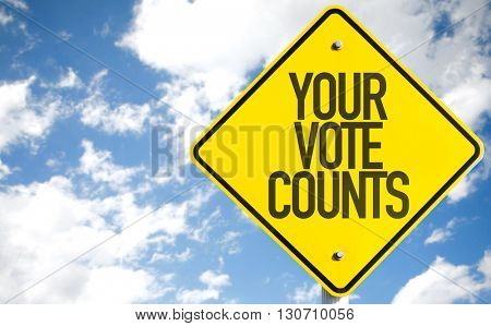 Your Vote Counts sign with sky background