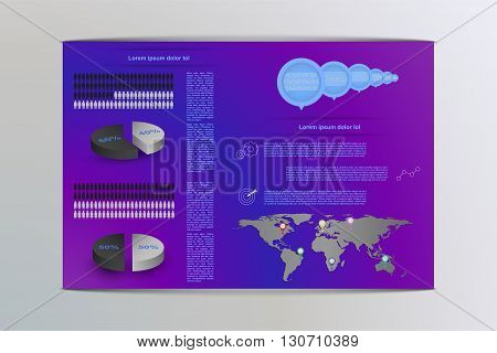 Colorful male and female infographics. Infographic with 3D round chart (pie chart) and world map with pointers. Brochure (flyer) style infographics with timeline icons outline icons and world map.