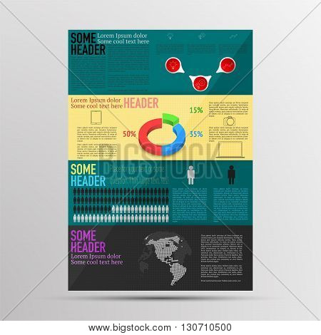 Modern colored brochure infographics. Infographic with timeline 3D pie chart outline icons and dotted world map. Infographics with dotted planet (rounded world map) in modern style with reflection.