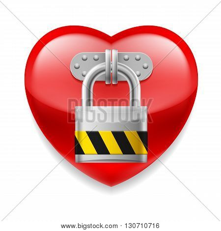 Glossy red heart with padlock. Love or life in safe