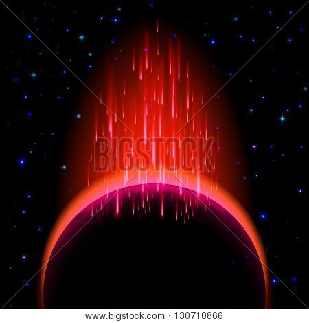 Space background. Dark planet with red radiance and star shower