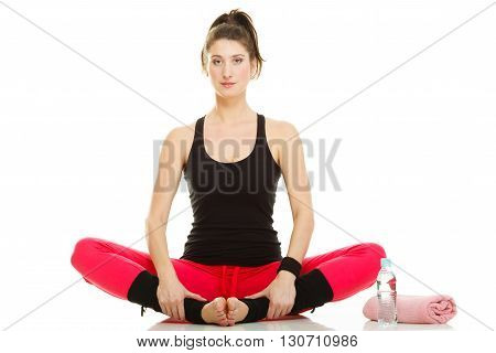 Fit Girl Stretching Isolated On White.