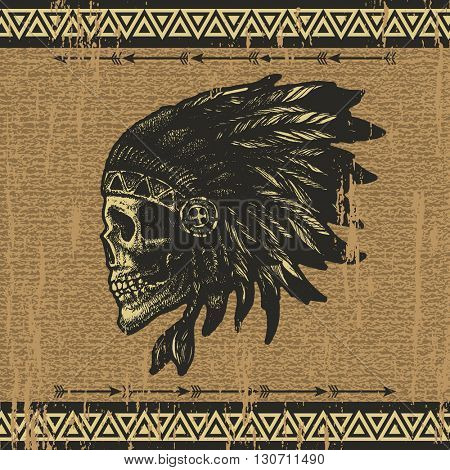 skull indian chief hand drawing style jpeg version