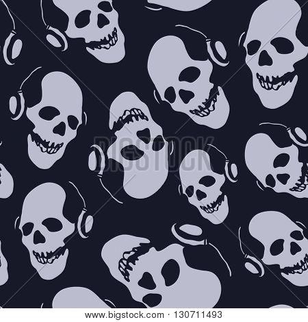 skull in earphones seamless background jpeg version