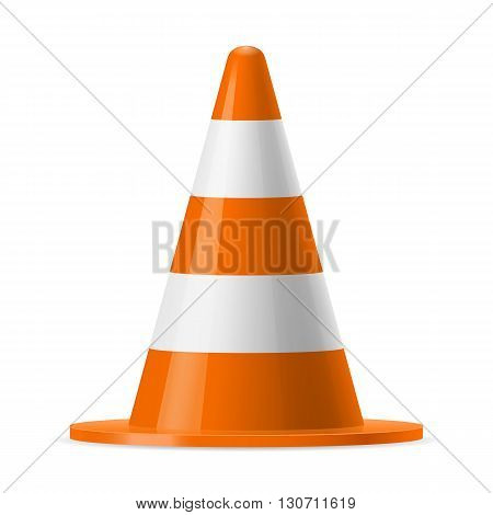 White and orange road pylon. Sign used to provide safe traffic during road construction