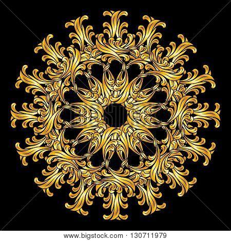 Gold flower. Ornate design element on black background