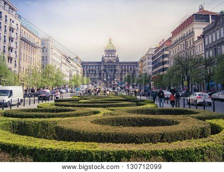 Prague, Czech republic - Aprl 22, 2015. Wenceslas square in Prague at spring time. Prague is the capital of Czech republic and a popular tourist destination.