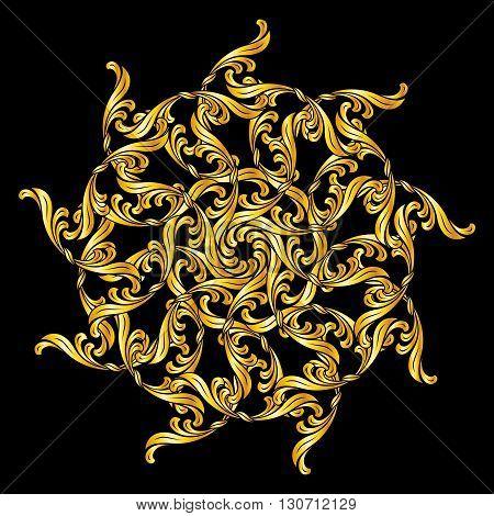 Ornate design element in floral style and golden shades. Illustration on black background