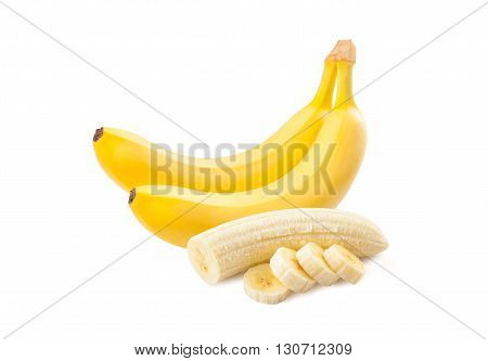 Banana. Ripe bananas isolated on a white background. Freshly sliced bananas.