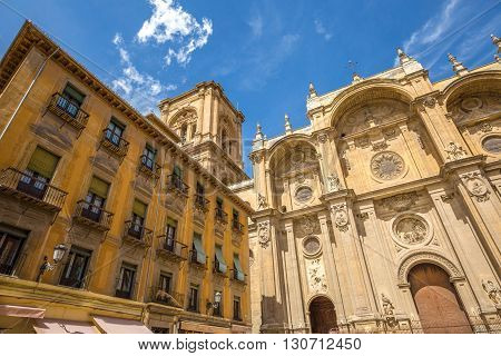 Main facade of the spectacular Cathedral of Granada in Andalusia, Spain.