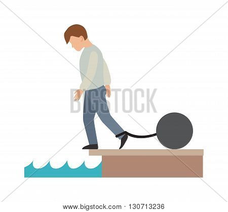 Concept of difficult life risks and challenges difficult business life. Difficult life vector concept and Difficult life people hard problem. Difficult life
