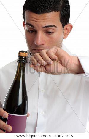 Closeup Man Opening Wine