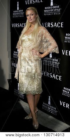 Paris Hilton at the Rodeo Drive Walk Of Style Award honoring Gianni and Donatella Versace held at the Beverly Hills City Hall in Beverly Hills, USA on February 8, 2007.