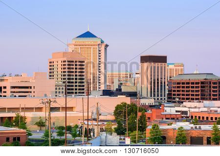 Montgomery, Alabama, USA downtown skyline at dusk.