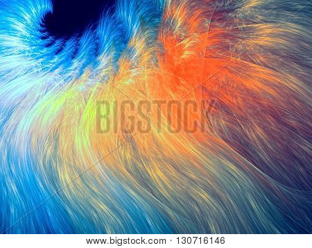Abstract fractal background - computer-generated image. Chaos lines like a quill or hair. Fractal artwork for banners, posters, web design.