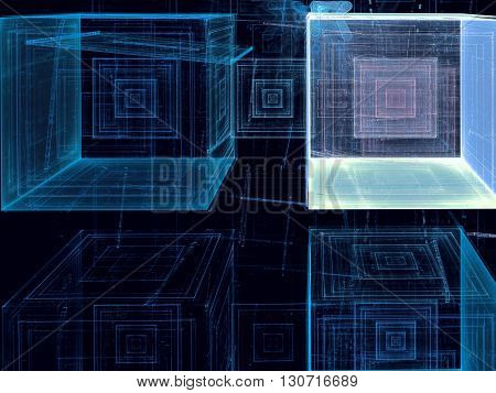 Abstract technology background - computer-generated image. Fractal art - translucent glass cubes with chaos lines. Trendy fractal geometry for web design, posters, banners.