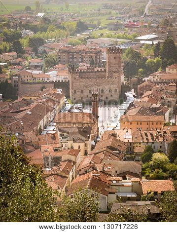 Panorama of the old town of Marostica with the lower castle that overlooks the famous Chess Square.