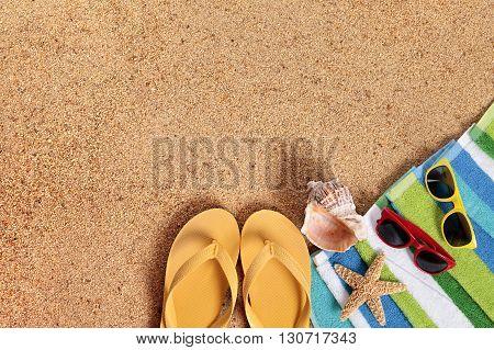 Summer beach background sunglasses couple sunbathing copy space