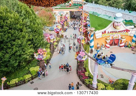 Castelnuovo Del Garda Italy - September 8 2015: Gardaland Theme Park in Castelnuovo Del Garda. Three million people visit the park on a yearly basis.