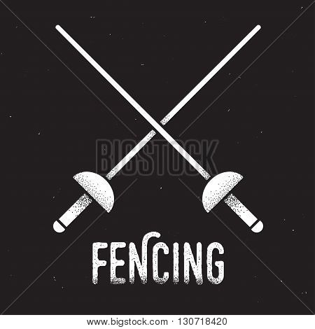 Fencing emblem. Two crossed rapier swords with retro style texture. Vintage vector icon.