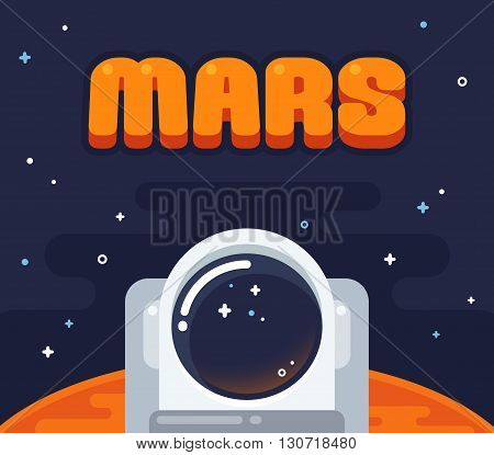 Astronaut on Mars. Flat cartoon space illustration. Helmet of an astronaut with Mars surface surrounded by starry sky.