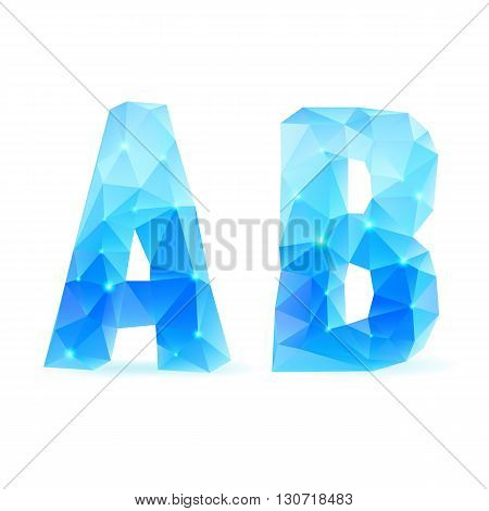 Shiny blue polygonal font. Crystal style letters