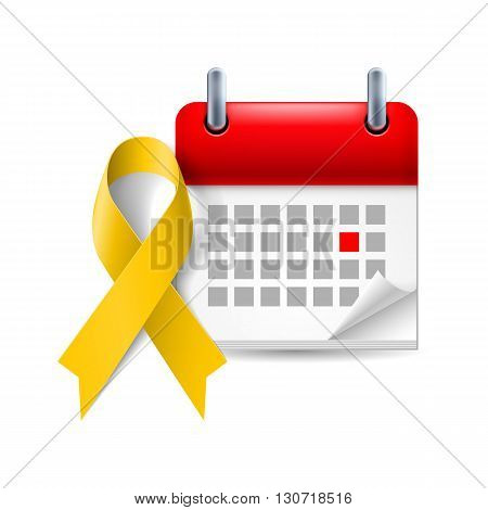 Yellow awareness ribbon and calendar with marked day. Bone cancer and troops support symbol